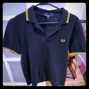 Fred Perry Polo Shirt, Men's Small.  Black Yellow.